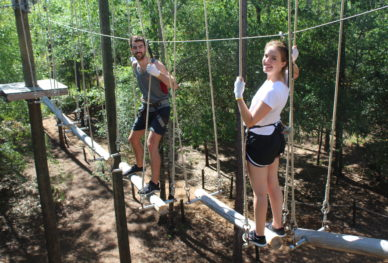 Couple on ropes course in Florida