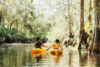 Couple kayaking in Florida park